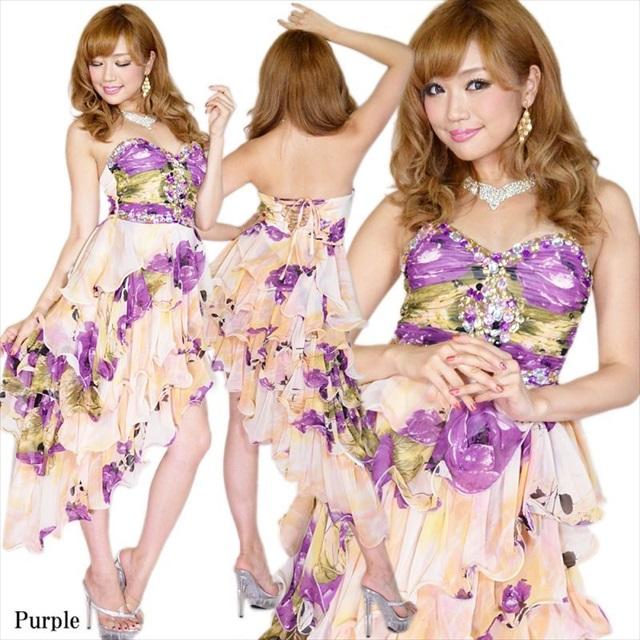斜め裾4段フリル花柄シフォンロングドレス 紫