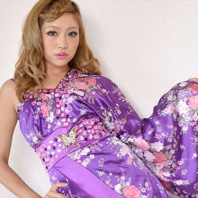 花魁ワンショルダーミニ着物ドレス 紫 和柄 花柄