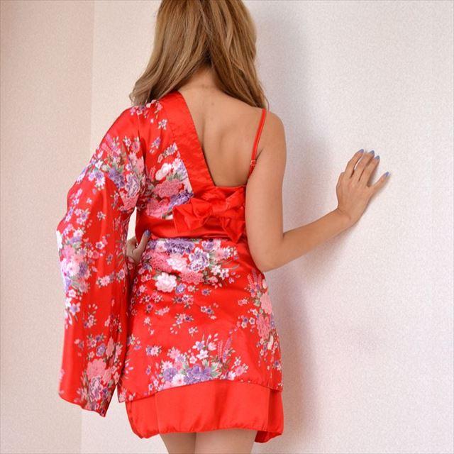 花魁ワンショルダーミニ着物ドレス ファッション レディース