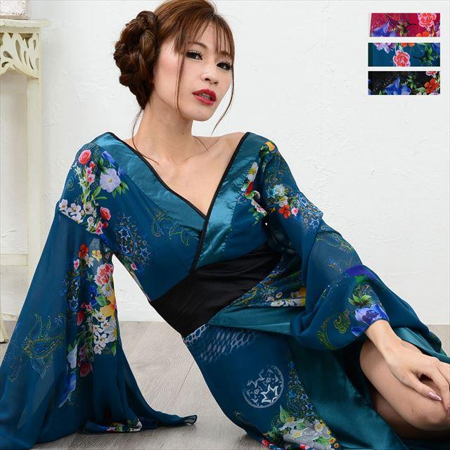幅広V字衿ロング着物ドレス キャバドレス ダンス 舞台 衣装 花柄 スリット レディースファッション 通販 エナー