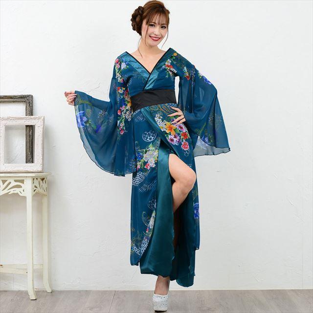 幅広V字衿ロング着物ドレス キャバドレス ダンス 舞台 衣装 花柄 スリット 通販