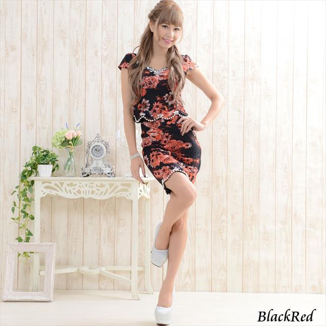 パールビジュー花柄レースミニドレス 黒赤