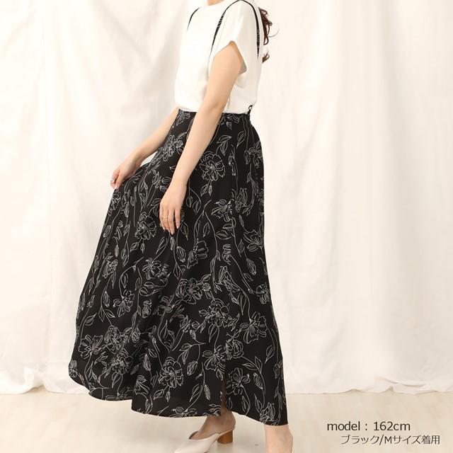 フレアラインサロペットスカート ブラック 黒 春夏