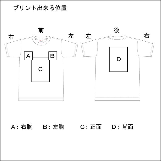 オリジナルプリント お手頃1450プリントTシャツ プリントできる位置