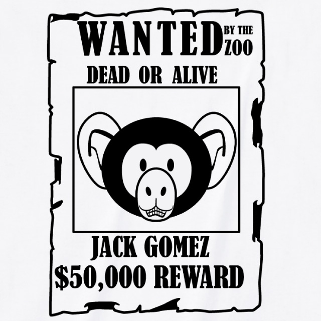 指名手配書プリントTシャツ オリジナル チンパンジー 動物 アニマル レディースファッション 通販