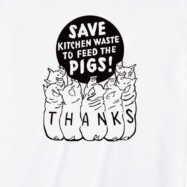 SAVE KICTHEN プリントTシャツ おもしろ ロゴ ブタ オリジナル