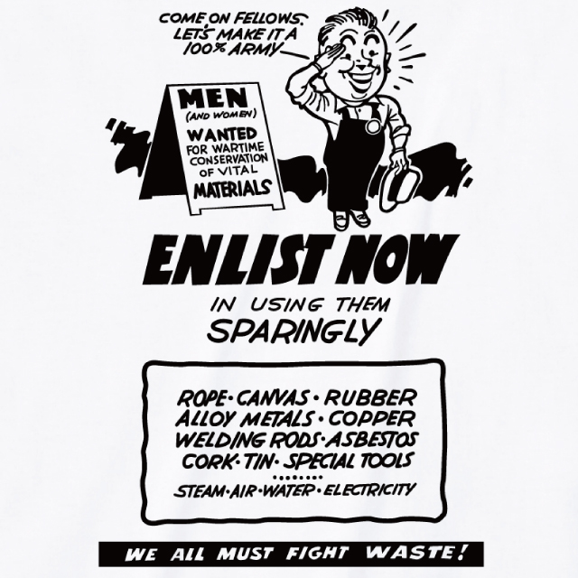 ENLIST NOW IN USING THEM SPARINGLYプリントTシャツ