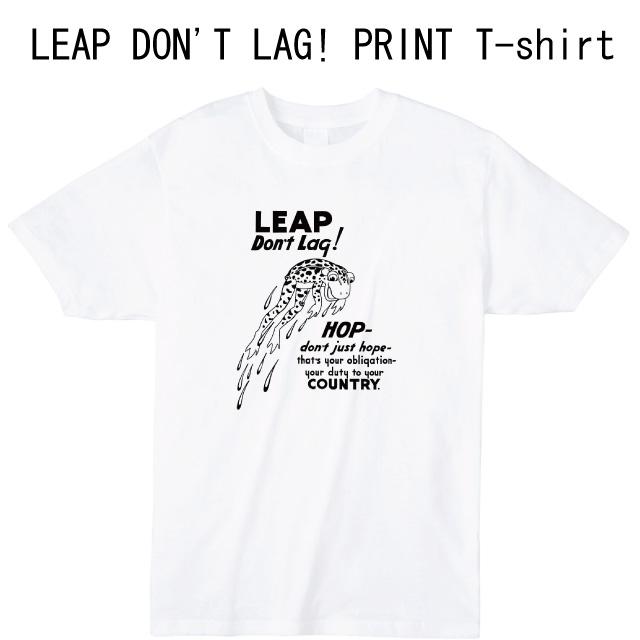 LEAP DON'T LAQ!プリントTシャツ カエル ロゴ