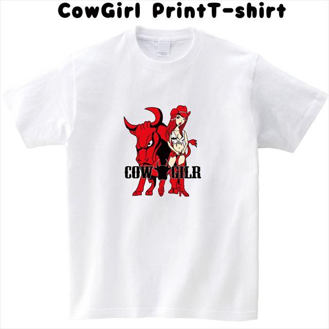 カウガールプリントTシャツ 半袖 トップス おもしろ キャラクター オリジナル メンズ レディース