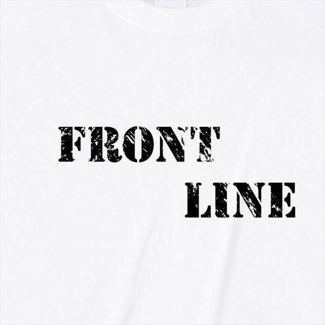 FrontLineロゴTシャツ トップス 半袖 英字 アメカジ オリジナル メンズ レディース 白 黒