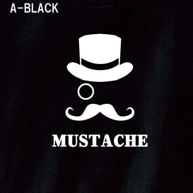 マスタッシュプリントTシャツ ロゴ アメカジ おもしろ キャラクター 半袖 トップス メンズ レディース 黒