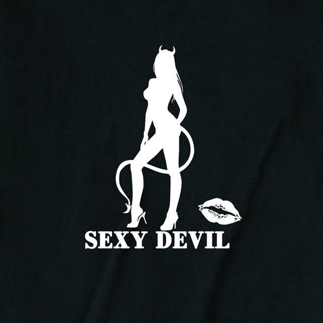 セクシーデビルシルエットプリントTシャツ トップス レディース メンズ ロゴ 大きいサイズ