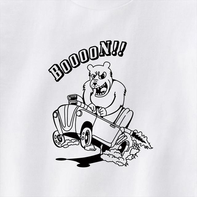 カスタムカードライブクマプリントTシャツ おもしろ キャラクター アメ車 動物 アニマル
