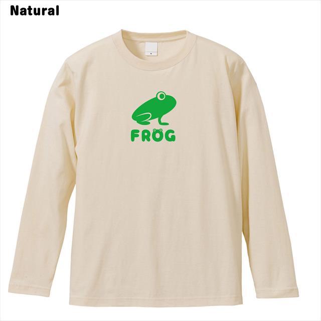 Frogロゴリブなし長袖Tシャツ おもしろ カエル メンズ レディース