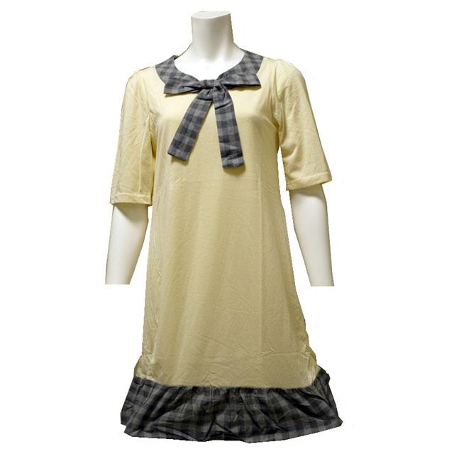 チェック柄 リボン ワンピース フェミ二ン 半袖 かわいい デート オシャレ 切り替え チュニック オシャレ 女の子
