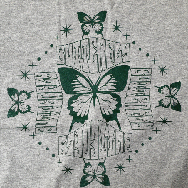 バタフライプリントTシャツ