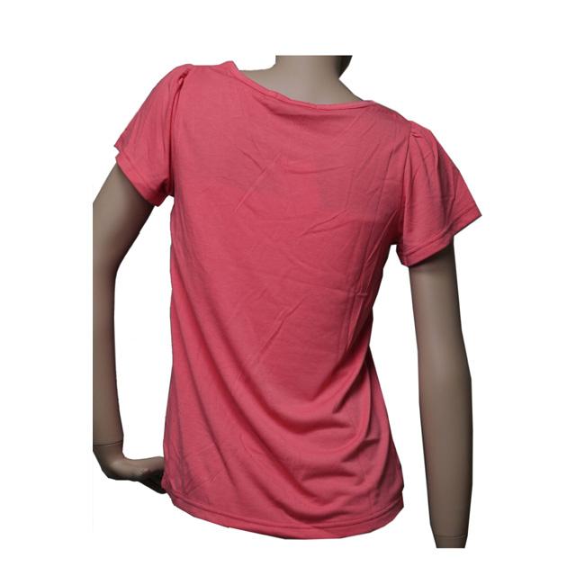 インナーブラ付きダメージ加工プリントTシャツ 半袖 カジュアル